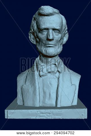 Statue Of Abraham Lincoln. 3d. Bust Of Lincoln On A Dark Background. Vector Illustration