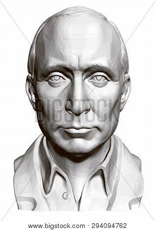 Statue Of Vladimir Vladimirovich Putin. 3d. Polygonal Bust Of Putin. Vector Illustration