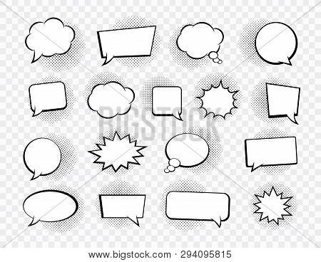 Big Set Of Speech Bubbles. Retro Empty Comic Bubbles. Stickers. Vector Illustration.