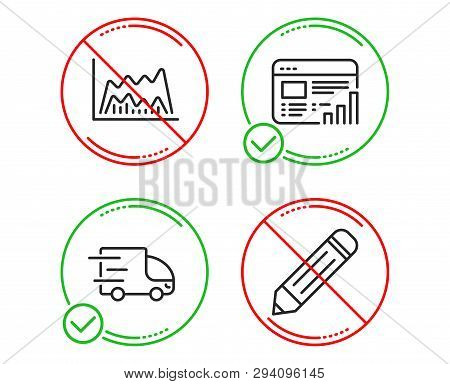 Do Or Stop. Trade Chart, Web Report And Truck Delivery Icons Simple Set. Pencil Sign. Market Data, G