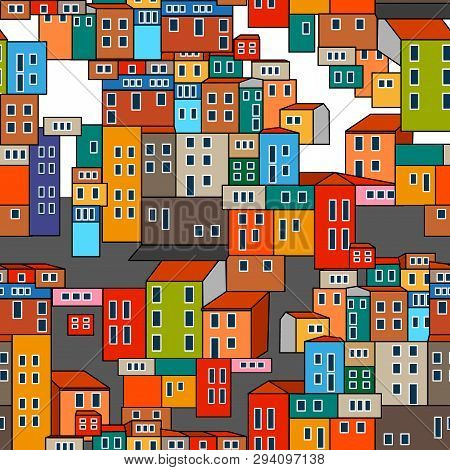Seamless Vector Pattern With Colorful Buildings. Urban Design Collection.