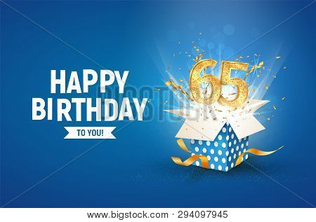 65 Th Years Anniversary Banner With Open Burst Gift Box. Template Sixty Fifth Birthday Celebration A