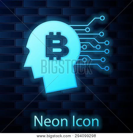 Glowing Neon Bitcoin Think Icon Isolated On Brick Wall Background. Cryptocurrency Head. Blockchain T
