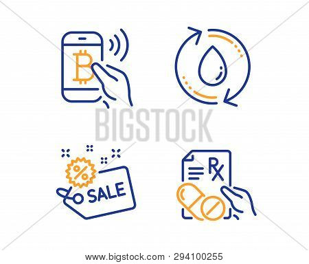 Bitcoin Pay, Refill Water And Sale Icons Simple Set. Prescription Drugs Sign. Mobile Payment, Recycl