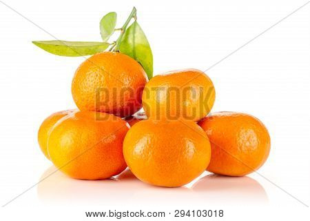 Lot Of Whole Fresh Orange Mandarine With Green Leaves Isolated On White Background