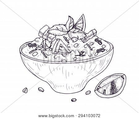 Tabbouleh Salad Or Hummus In Bowl Hand Drawn With Contour Lines On White Background. Wholesome Delic
