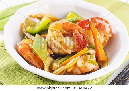 thai prawns with vegetable