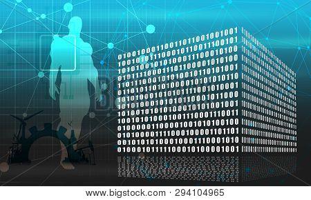 Binary Code Concept. Algorithm Binary, Data Code, Decryption And Encoding, Row Matrix. Muscular Man