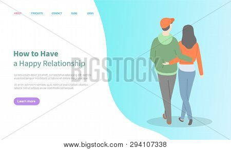How To Have Happy Relationship Online, Blue Homepage Decorated By Hugging Couple, Back View Of Going