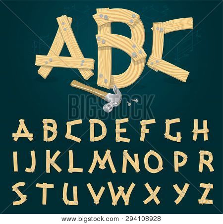 Stylized Vector Font Made From Wooden Planks Hammered With Iron Nails.