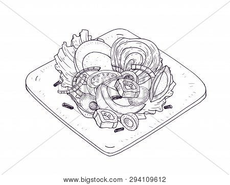 Appetizing Salad With Vegetables And Fish On Plate Hand Drawn With Contour Lines On White Background