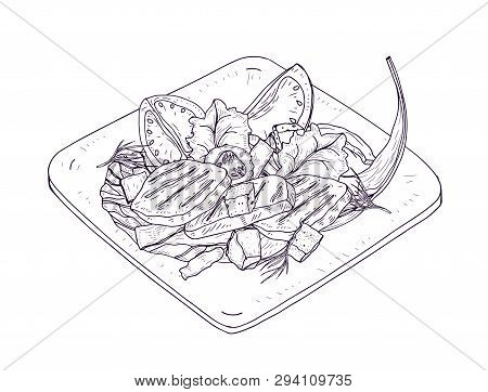 Caesar Salad On Plate Hand Drawn With Contour Lines On White Background. Delicious Restaurant Meal M