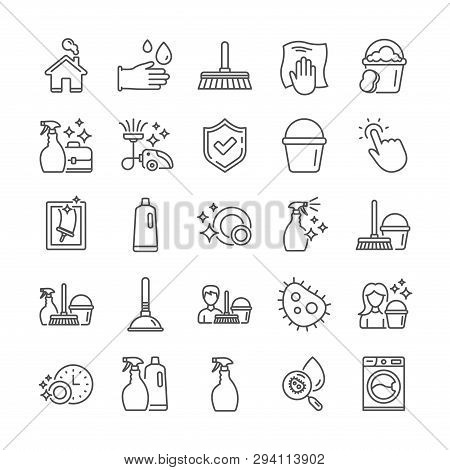 Cleaning Line Icons. Laundry, Vacuum Cleaner And Window Sponge Icons. Washing Machine, Housekeeping