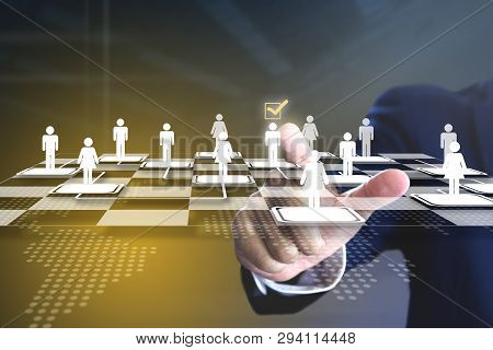 Business Administrator Selecting A Man In Action Of Manpower Or Human Resource Planning Or Business