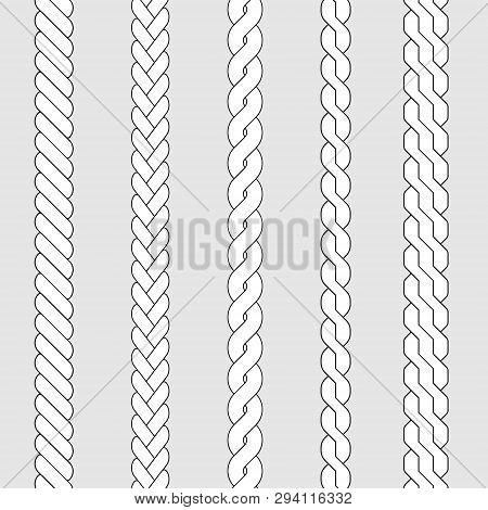 Plait And Braid Pattern Brush Set . Template For Your Design