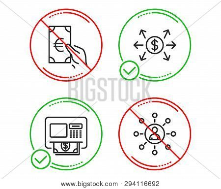 Do Or Stop. Dollar Exchange, Finance And Atm Icons Simple Set. Networking Sign. Payment, Eur Cash, M