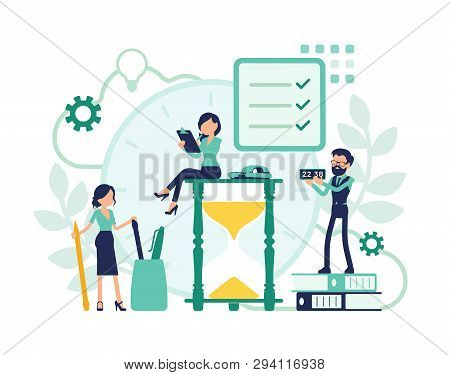 Time Management, Giant Hourglass Clocks And Business People. Managers Control Employees Working Well
