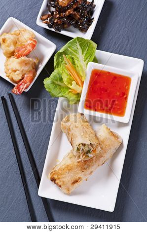 spring rolls with tempura and sauce