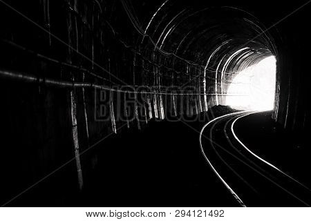 Train Tunnel. Old Railway In Cave. Hope Of Life In The End Of The Way. Railroad Of Locomotive Train