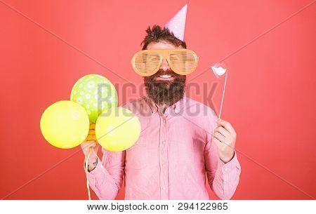 Bearded Man With Party Accessories, Surprise Concept. Man With Paper Lips, Enormous Crazy Glasses An