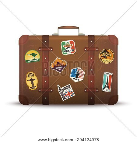 Suitcase Stickers. Old Retro Luggage With Travel Badges Vintage Antique Package Vector Picture. Suit