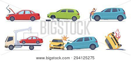 Car Accident. Damaged Transport On The Road Repair Service Insurances Vehicle Vector Illustrations I