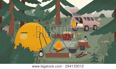 Forest Touristic Camp With Tent, Bonfire, Firewood, Campervan, Equipment, Tools For Adventure Touris