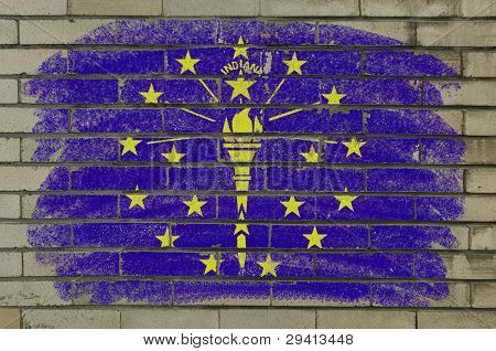 Grunge Flag Of Us State Of Indiana On Brick Wall Painted With Chalk