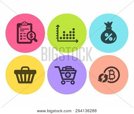 Accounting Report, Dot Plot And Loan Icons Simple Set. Shop Cart, Add Products And Refresh Bitcoin S