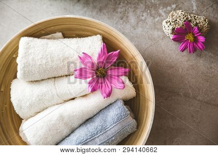 Spa products and cosmetics. Dayspa cosmetics products. Spa and wellness setting. poster