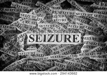 Seizure. Torn Pieces Of Paper With The Words Seizure. Concept Image. Black And White. Close Up.