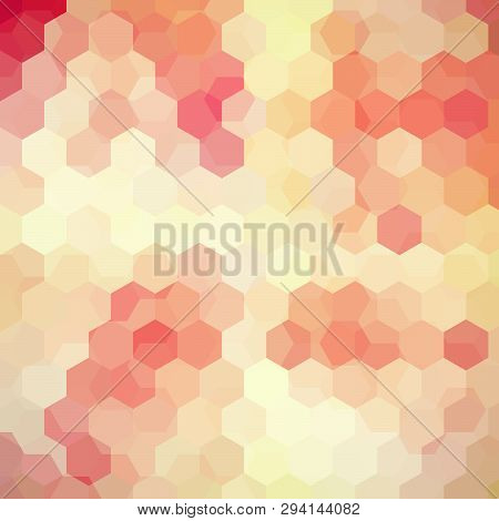 Vector Background With Pastel Beige, Pink, Orange Hexagons. Can Be Used In Cover Design, Book Design