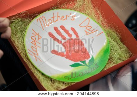 Sign Of Mother Day. The Plate With Drawing Hand.