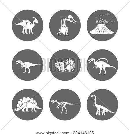 Dinosaur Icons Vector. Dinosaur Egg And Volcano, Dinosaur Skeleton And Tyrannosaurus Silhouettes Ico