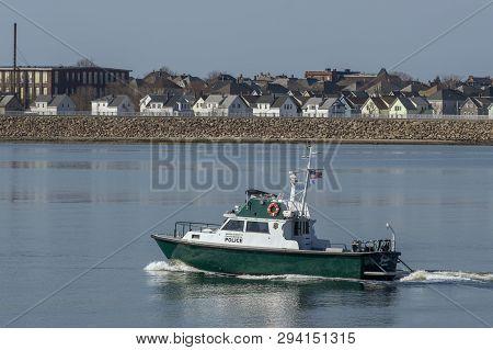 New Bedford, Massachusetts, Usa - March 30, 2019: Massachusetts Environmental Police Patrol Boat Jes