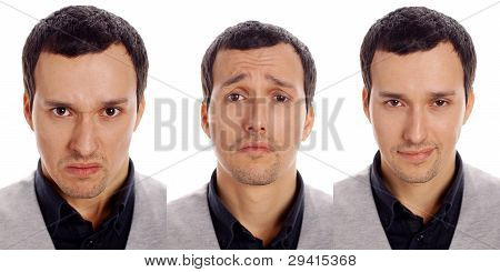 three emotions of one man on a white background poster