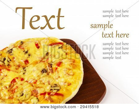 Appetizing Pizza On A Wooden Board