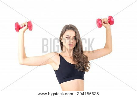 Fitness Woman Doing Workout With Weights , Beautiful Cute Girl Beauty Sexy Woman Smile In Sportswear