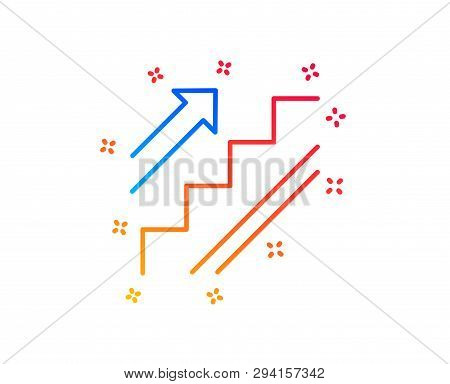 Stairs Line Icon. Shopping Stairway Sign. Entrance Or Exit Symbol. Gradient Design Elements. Linear