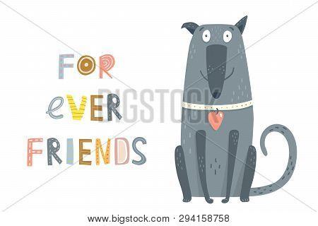 Cute Devoted Dog Sitting Graphic Cartoon Illustration.