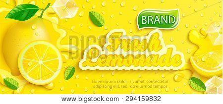 Fresh Lemonade With Lemon, Splash, Apteitic Drops From Condensation, Fruit Slice, Ice Cubes On Gradi