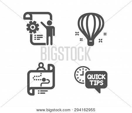 Set Of Settings Blueprint, Air Balloon And Journey Path Icons. Quick Tips Sign. Engineering Cogwheel