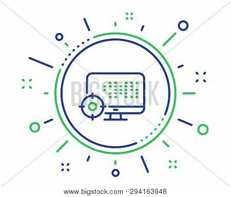 Seo Computer Line Icon. Search Engine Optimization Sign. Target Symbol. Quality Design Elements. Tec