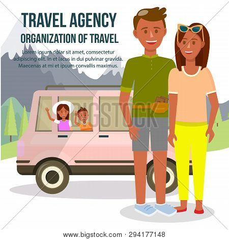 Travel Agency. Organization Of Travel Square Banner With Copy Space. Parents And Children Traveling
