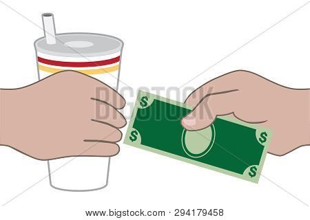 A Customer At A Fast Food Restaurant Is Paying For His Drink
