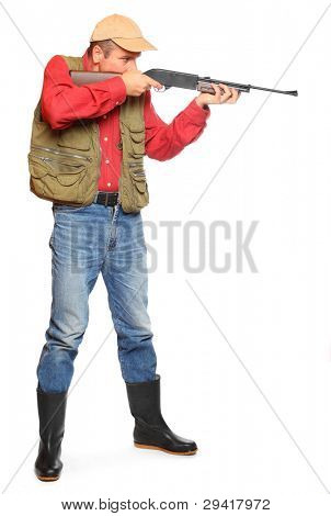 Hunter with rifle on a white background. poster