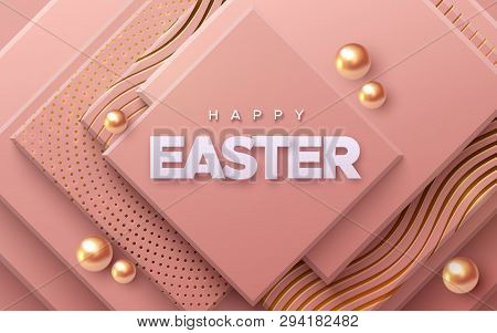 Happy Easter. Vector Holiday Illustration Of Paper Sign On Geometric Background. Religious Event Ban