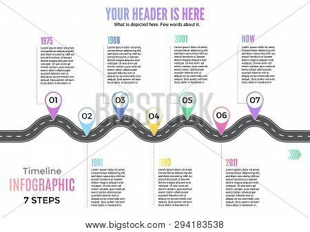 Info Business Plan Navigation Loop Map Bend Road Way Infographic Roadmap Design Vector Illustration