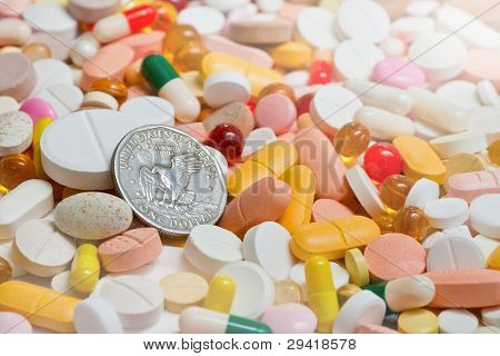 Lot Of Pills And Usa One Dollar Coin