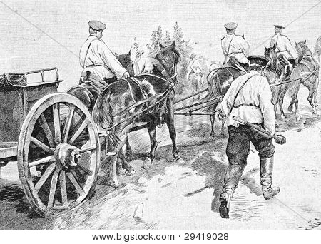 Soldiers returning from the shooting range. Engraving by Shlipper from picture by painter Sokolovsky. Published in magazine